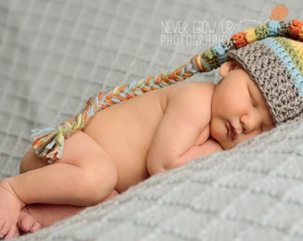 Newborn hat, stocking cap, sleep cap, long tailed hat, crochet hat newborn hat, baby boy hat, childrens hat, baby, photography prop, twins