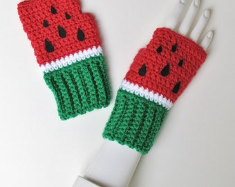Watermelon Wristwarmers, Fingerless Mitts, Crocheted Texting Gloves, Adorable Watermelon Fashion Accessory, Ships Fast