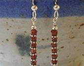 Sterling Garnet Earrings, January Birthstone Earrings, Semiprecious Earrings, Red, Silver, Delicate, Minimalist, Embers