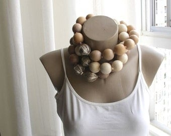 Large Wooden Chunky Asymmetric Statement Necklace