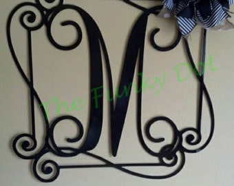 Single Letter Monogram with Border, Letter Door Decor