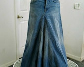 Seven for All Mankind  ballroom jean skirt vintage high waisted Renaissance Denim Couture fairy goddess mermaid belle bohémienne