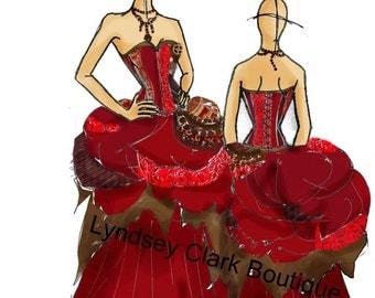 Illustration art print of red steampunk wedding dress bridal design