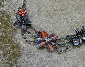 Salvaged & Upcycled Ceiling Tin Flower Statement Necklace Perfect Patina, Stellar Subject, 100% Hand Crafted Art To Wear - ReaganJuel: Tin10
