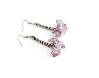 Purple flowers dangle earrings, branch jewelry, cluster earrings, minimal jewelry