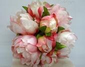 Silk peony Wedding bouquet Blush pink ivory Bridesmaid bouquet