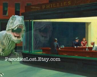 Edward Hopper NIGHTHAWKS T-Rex Dinosaur Pulp 1940s Parody  Print Tyrannosaurus