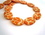 Big Giraffe Print Shell Beads MOP Orange Yellow Animal Print 3 Beads