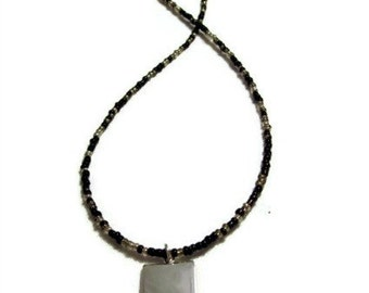 Glass Seed Bead Necklace, Hand Beaded, Black and Silver with Silver Pendant
