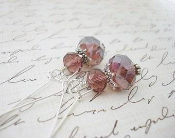 Amethyst Drop Earrings, Purple Earrings, Crystal Earrings, Glass Earrings, Beaded Earrings, Amethyst Earrings, Gift for Her, Silver Earrings