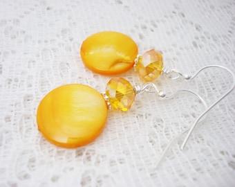 Yellow Earrings, Golden Yellow Earrings, Drop Earrings, Mother of Pearl Earrings, Shell Earrings, MOP Earrings,Free Shipping