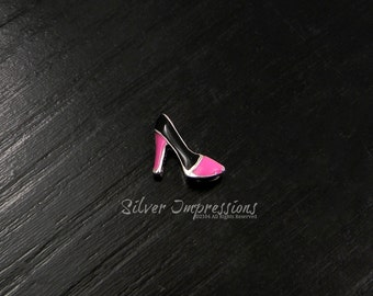Pink and Black High Heel Floating Charm /  Locket Charms /  Memory Locket Charms