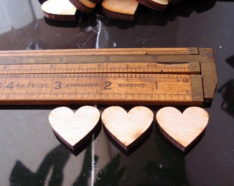50 Wood Hearts 1 inch Wooden hearts