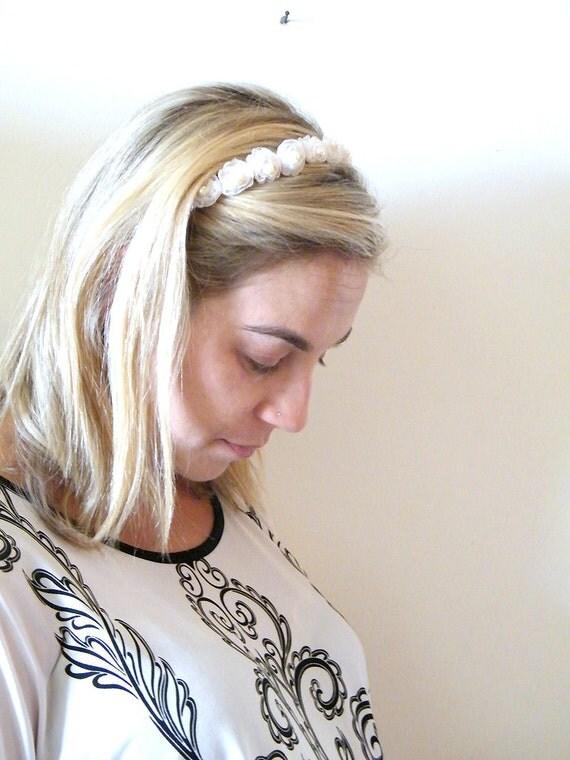 Reserved to Christine- Bridal  headband, Bridal flowers Lace  Headband, Wedding Fascinator Hairpiece,  Hair Accessory,  Boho headband.