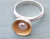 Gold, silver and pearl acorn ring