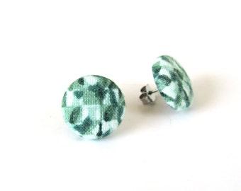 Dark green white stud earrings - emerald button earrings - fabric covered earrings