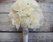 Ivory Rose Peony and Ranunculus Wedding Bouquet with Rhinestone Handle
