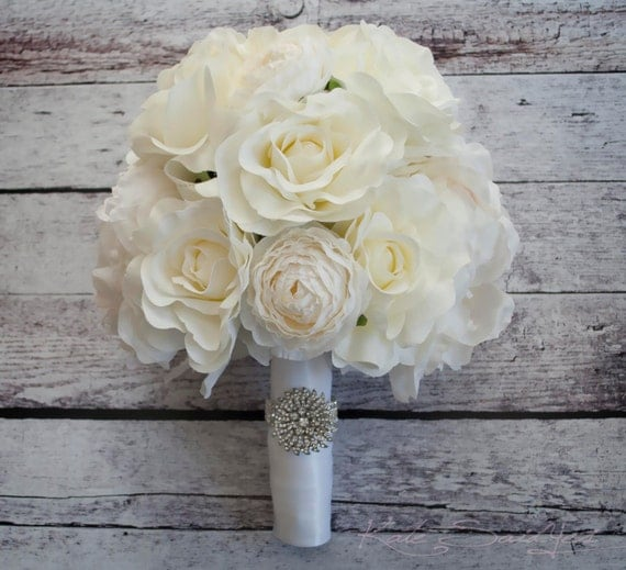 Ivory Rose Peony and Ranunculus Wedding Bouquet with Rhinestone Handle