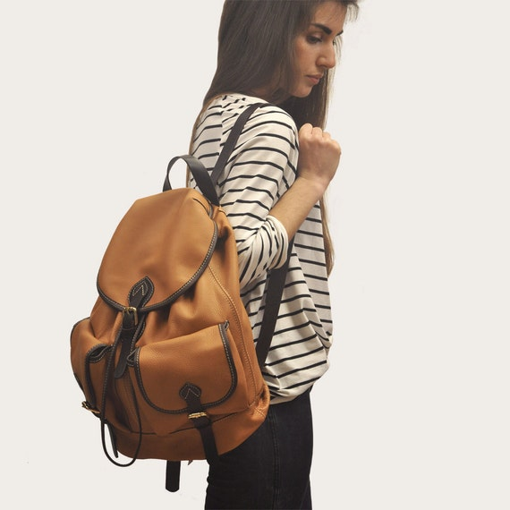 Handmade leather backpack in Camel ,Unisex, named Tania MADE TO ORDER
