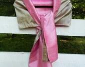 Blush Pink w Khaki Silk Dupioni Wrap