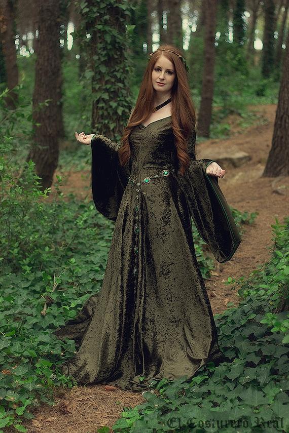 Celtic princess green velvet costume Medieval dress