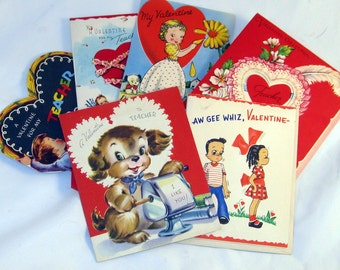Valentines Cards collection of 6 cir 1950' and 60's