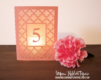 Maria Wedding Table Numbers, Luminary Table Numbers, Quatrefoil Table Numbers, Luminaries, Wedding Decor, Wedding Signs
