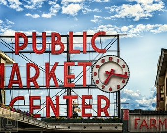 Pike Place Market, Icon, Seattle, Sign, Vintage, Antique, Print, Fine Art Photography, Steampunk (6 Sizes)