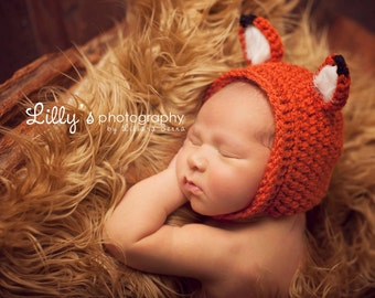 Newborn Baby Boy or Girl Crochet Fox Photo Prop Hat with Faux Fur Ears