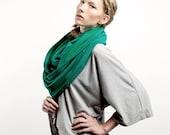 Tube Snood Shawl Women and Men Scarf Soft Wrap Cozy Fleece Hood Sweatshirt Smart Hat GREEN Oversize Unisex XXL