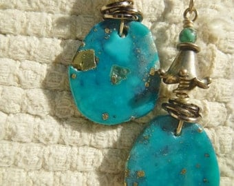 Beautiful Blue Turquoise and Sterling Silver Earrings