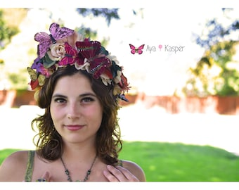 Fairy Butterfly Day of the Dead Crown - Dia de los Muertos Whimsical crown Wildflower Fall Wisteria Flowers Sugar skull Headdress Fascintor