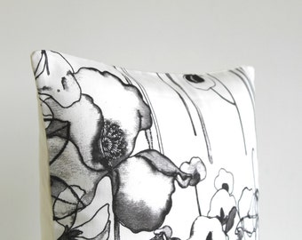Throw Pillow Cover, Pillow Sham, 18x18 Cushion Cover, Accent Pillow, 18 Inch Pillow Case, Flower Pillow - Watercolour Flowers Monochrome