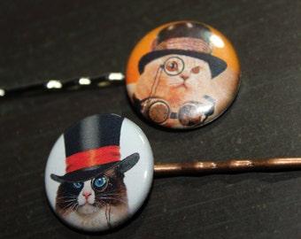 Steampunk Cat Hair Pins Stocking Stuffers