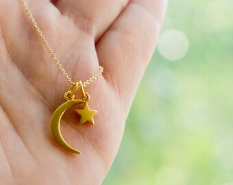 Gold Crescent Moon Star Necklace - 24K Gold-Dipped Charm Necklace. Galaxy, Astrology, Cosmos, Universe Gift Ideas for Her