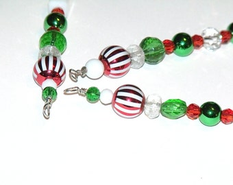 Red White and Green Icicle Ornaments with an old fashioned style