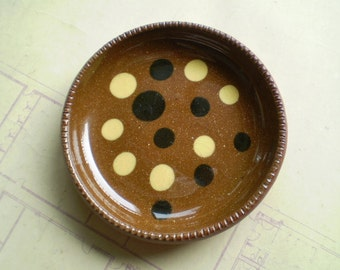 Vintage Greenfield Village Pottery Dish - Redware - Brown, Black, Cream & Clear glaze over Red clay