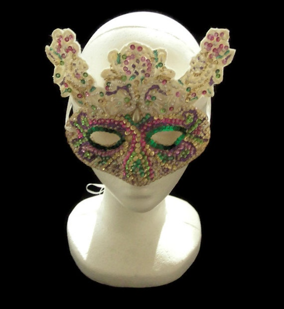 Masquerade Mask, Hand Beaded White Lace Venetian Masquerade Ball Mask, Free US Shipping