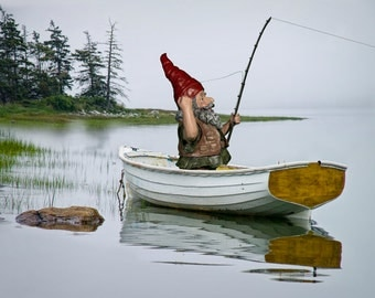 Garden Gnome Fisherman in a White Boat fishing on a Wilderness Lake a Surreal Fantasy Outdoor Photograph