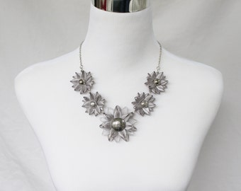 Silver Statement Necklace, Gray Statement Necklace, Light Gray Necklace, Silver Flower Statement Necklace, Gray Bridesmaid Necklace