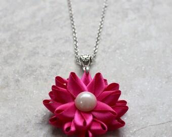 Fuchsia Necklace, Fuchsia Jewelry, Fuchsia Flower Necklace with Pearl Center, Fuchsia Wedding Jewelry, Fuchsia Bridesmaid Necklaces