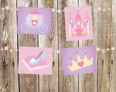 GIRLS | Nursery Art | Wall Art | 5x7 | 8x10 | 11x14 | Princess | Set of 4 Prints