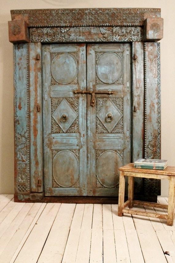 Original Antique Door Set Indian Hand Carved Teak Wood