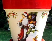 Santa and Snowman Flower Pot,  8 Inch Poinsettia Planter