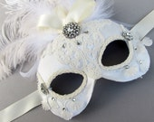 Bridal Masquerade Mask- white lace mask with feathers