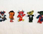 Dancing DC bears hat pins set, grateful dead, batman, superman, wonder woman, the flash, green lantern, hippie, hat pin, music festivals