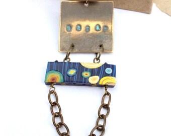 Blue, boho, humblebeads, starry night, lapis lazuli, dream, stamped pendant, art bead, polymer clay,asymmetrical, necklace by esfera Jewelry