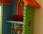 Virgen de Guadalupe Colorful Alter Shrine Retablo Nicho
