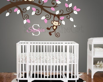 Wall Decals Nursery - Nursery wall decal - Branch decal - Branch and Custom Name Decal - Nursery Decal - Children Decal - Monogram