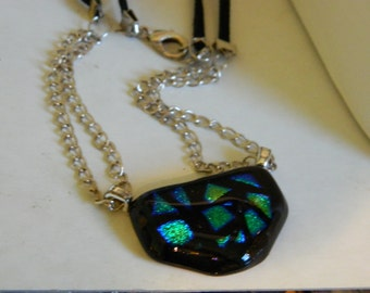 Fused Glass Geometric Pendant Necklace